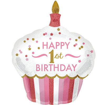 1st Birthday Cupcake Foil Balloon Pink