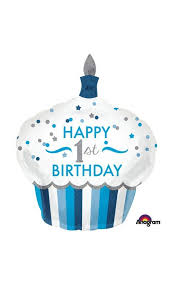 1st Birthday Cupcake Foil Balloon Blue