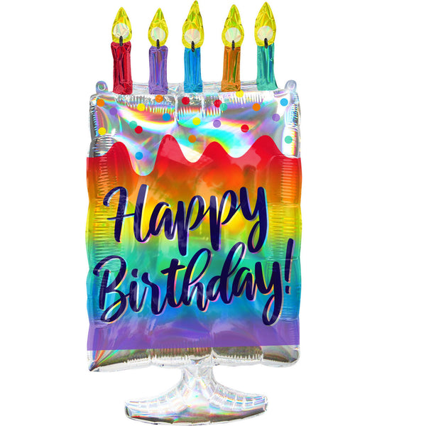 Iridescent Cake Happy Birthday Foil Balloon
