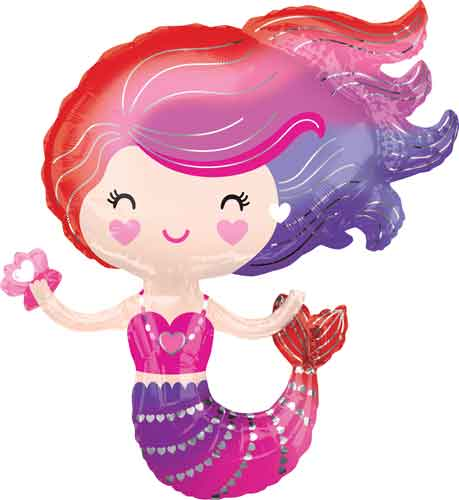 Lovely Pink Mermaid Foil Balloon