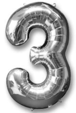 Silver No. 3 Foil Balloon