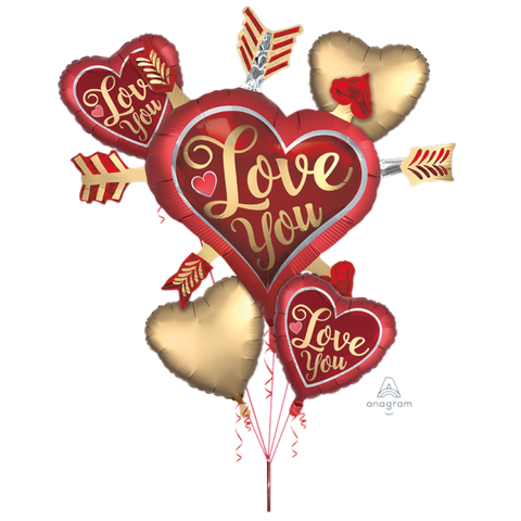 Satin Love You Arrows Foil Balloons Bouquet, 5ct