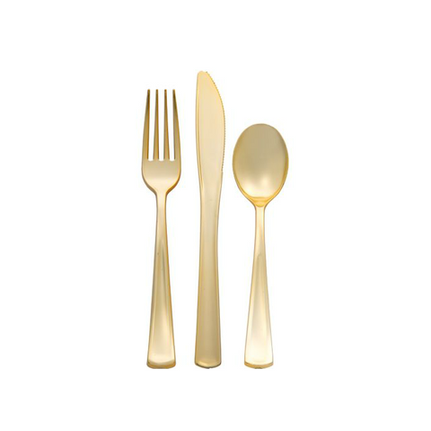Reusable Gold Plastic Cutlery Set - 32pcs
