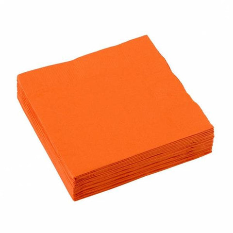 3 Ply Orange Cocktail Napkins 20pcs
