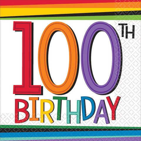 Rainbow Birthday 100th Cocktail Napkins