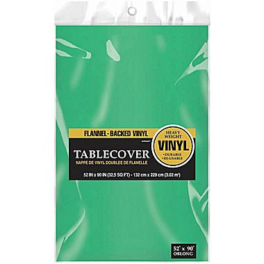 Green Flannel-backed Vinyl Tablecover