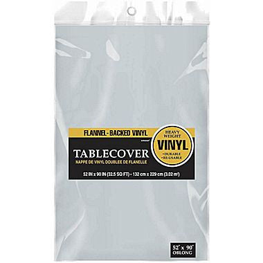 Silver Flannel-backed Vinyl Tablecover