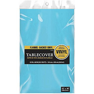 Light Blue Flannel-backed Vinyl Tablecover