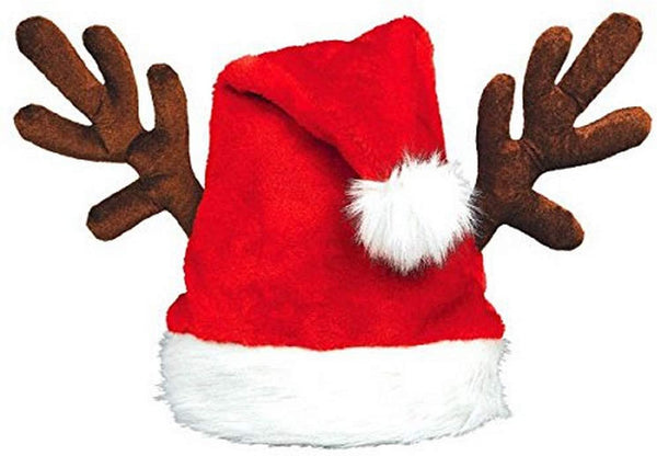 Plush Santa Hat with Antlers