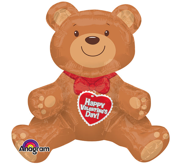 Sitting Valentine Bear 3D Foil Balloon
