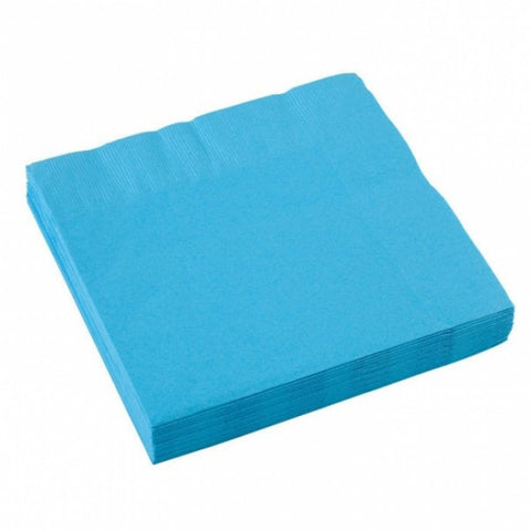 3 Ply Caribbean Blue Cocktail Napkins, 20 Pcs