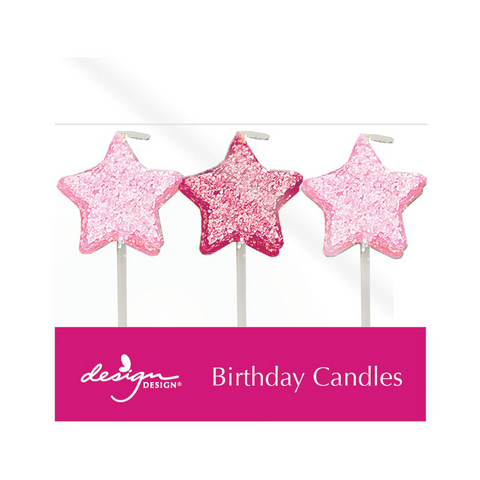 Glitter Stars Candles, 6ct