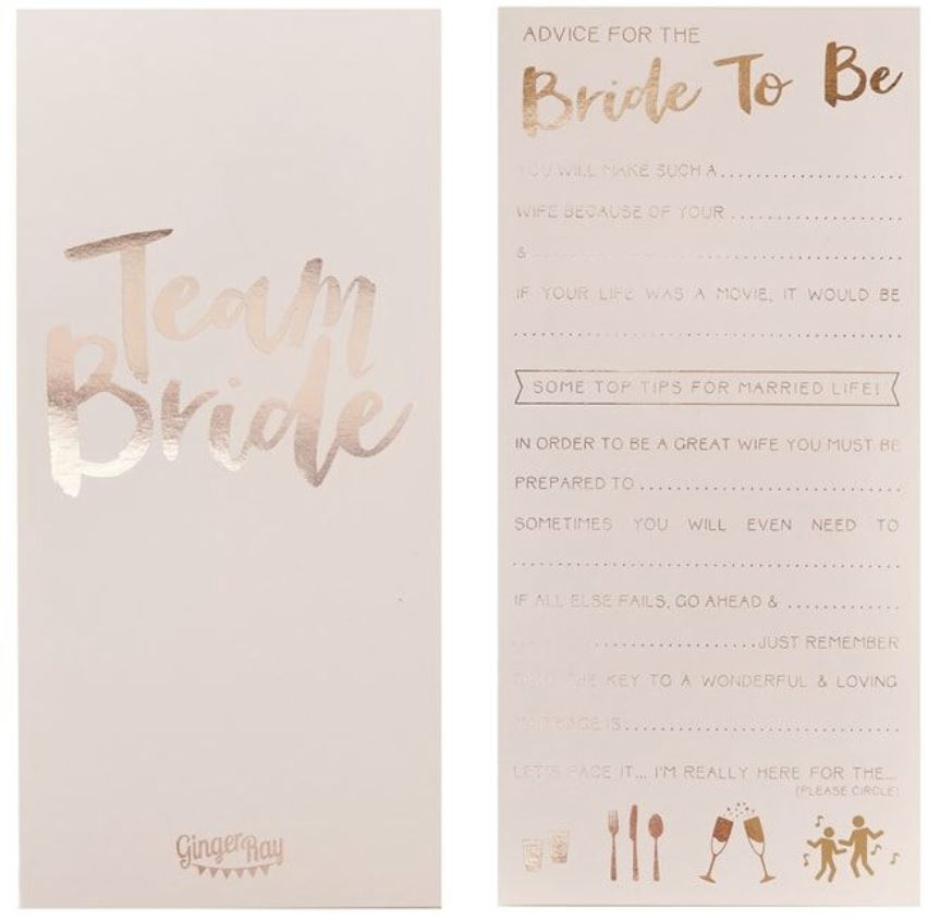 Pink Rose Gold Advice for the Bride to Be Cards