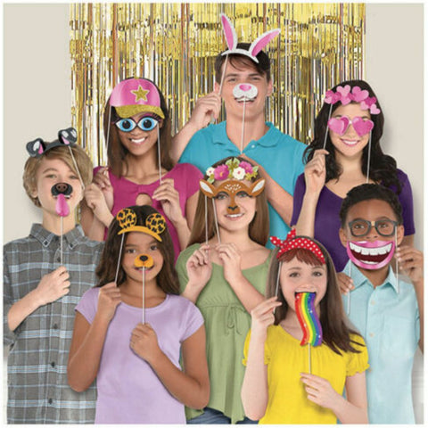 Social Media Photo Props with Gold Foil Backdrop