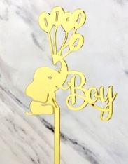 Gold Baby Boy Elephant Cake Topper