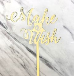 Gold Make A Wish Cake Topper