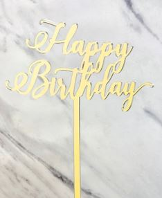 Gold Happy Birthday Cake Topper