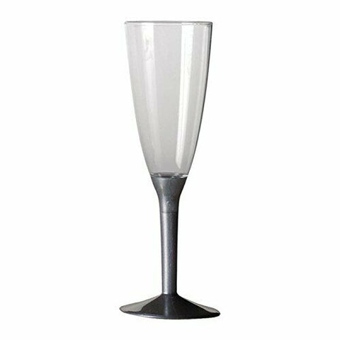 Champagne Flute with Silver Detachable Base, 8ct