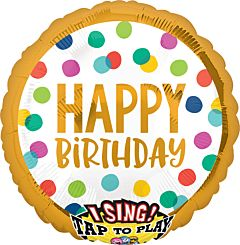 Sing-A-Tune Happy Birthday Dots Foil Balloon