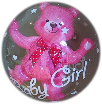 Baby Girl Bear Bubble Balloon