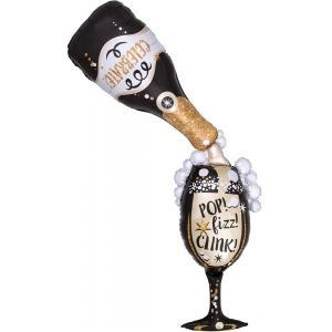 Champagne Bottle Time for Bubbly Foil Balloon