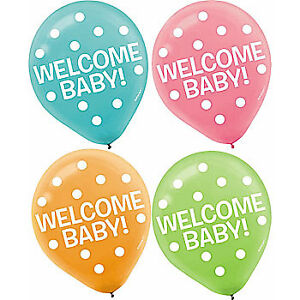 Assorted Welcome Baby Latex Balloons, 15pcs