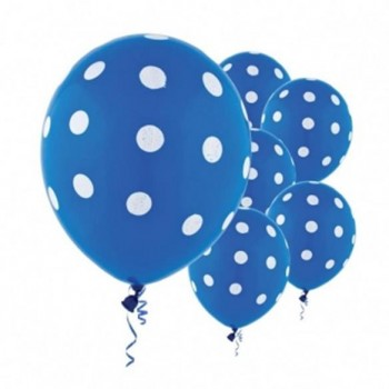 Bright Royal Blue Polka Dots Printed Latex Balloons, 6ct