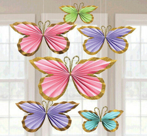 Glitter Butterfly Hanging Decorations, 6ct