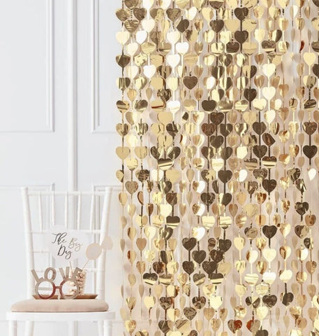 Gold Hearts Foil Curtain Backdrop