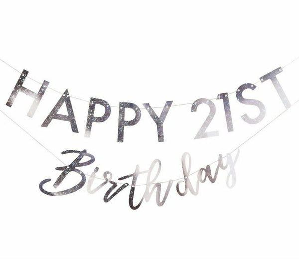 Iridescent Add-Any-Age Happy Birthday Banner