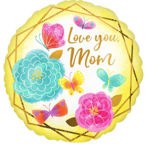 I Love You Mom Gold Trim Foil Balloon