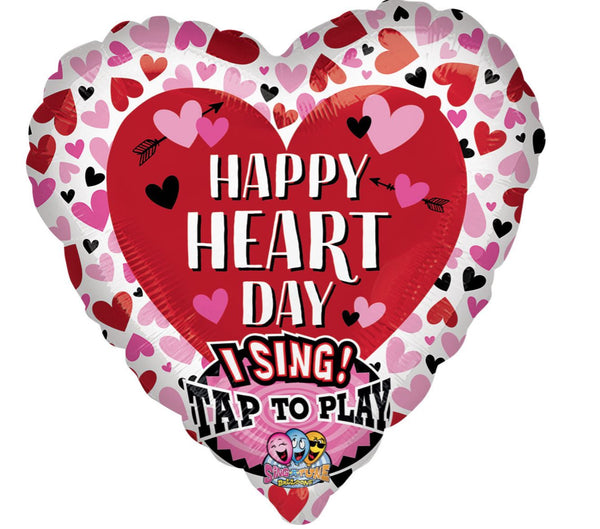 Sing-A-Tune Happy Heart Day Foil Balloon