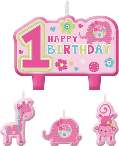 1st Birthday Wild Animals Pink Candles, 4ct