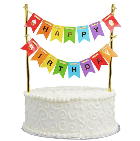 Happy Birthday Multi-colour Flag Bunting Cake Topper