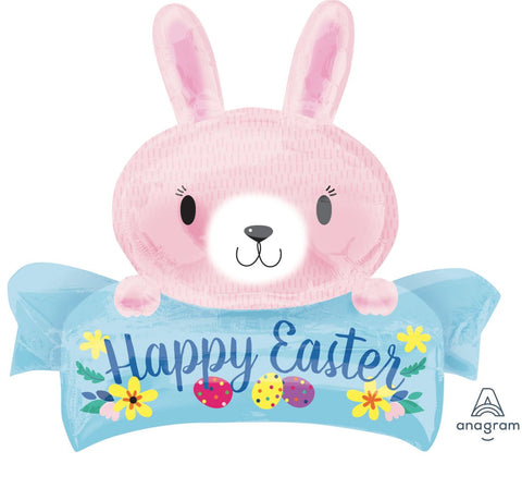 Happy Easter Pink Bunny Foil Balloon
