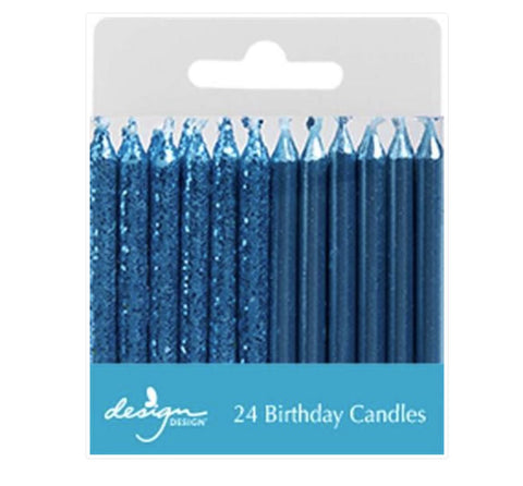 Blue Shimmer Candles, 24ct