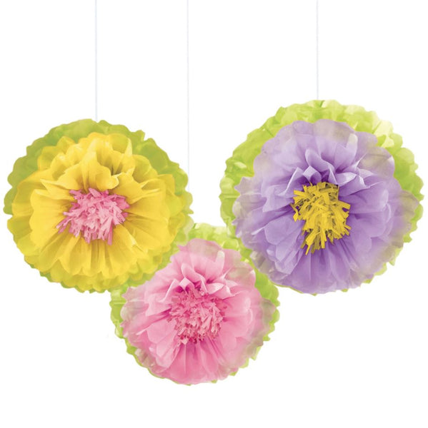 Fluffy Flowers Hanging Decoration, 3ct