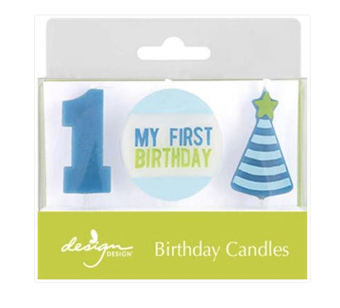 1st Birthday Candle Blue, 3ct