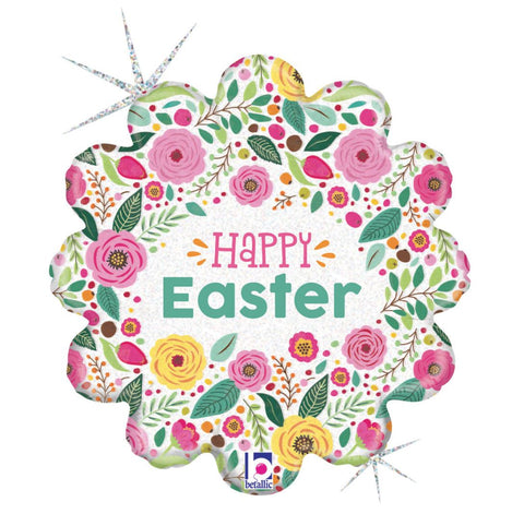 Happy Easter Spring Flowers Foil Balloon