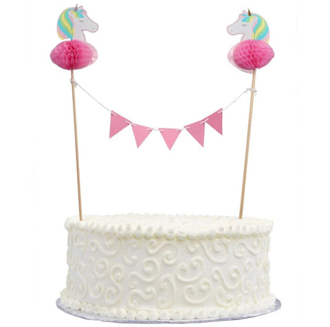Unicorn Honeycomb Bunting Cake Topper