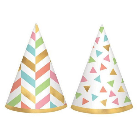 Confetti Fun Mini Foil Cone Hats, 12 Pcs