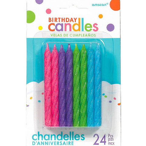 Glitter - Brights Large Spiral Candles , 24 Pcs