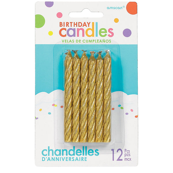 Glitter - Gold Large Spiral Candles, 12 Pcs