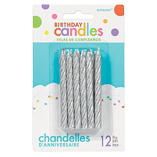 Glitter Silver Large Spiral Candles, 12ct