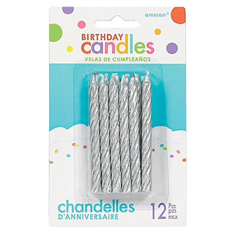 Glitter - Silver Large Spiral Candles, 12 Pcs