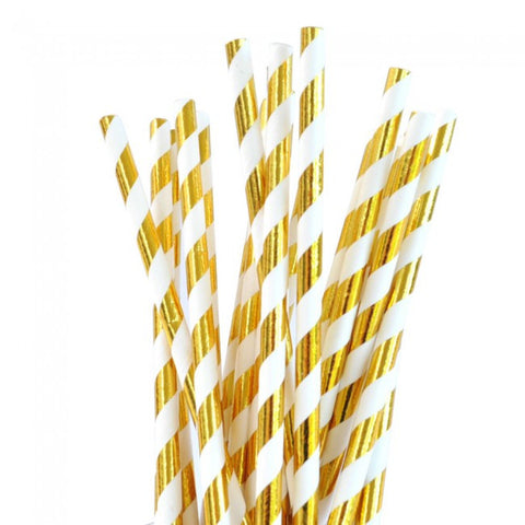 Gold Stripe Foil Paper Straws 25pcs
