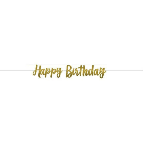 Gold Glitter Paper Happy Birthday Banner