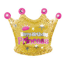 Happy Birthday Princess Gold Crown Balloon