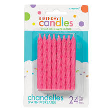 Glitter - Pink Large Spiral Candles, 24 Pcs