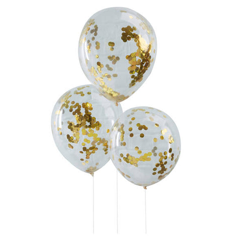 Gold Confetti Filled Latex Balloons, 5ct
